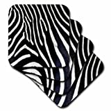 3dRose Janna Salak Designs Black and White Zebra Animal Print Coaster, Soft, Set of 8