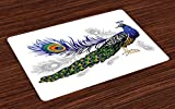 Ambesonne Peacock Place Mats Set of 4, Male Peacock Feathers Springtime Wilderness Crowned Majestic Artsy Animal Pattern, Washable Fabric Placemats for Dining Room Kitchen Table Decor, Multicolor