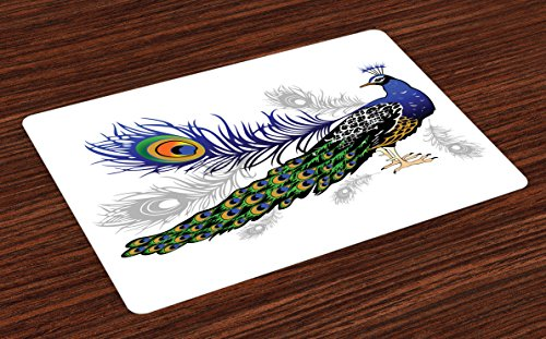 Ambesonne Peacock Place Mats Set of 4, Male Peacock Feathers Springtime Wilderness Crowned Majestic Artsy Animal Pattern, Washable Fabric Placemats for Dining Room Kitchen Table Decor, Multicolor by Ambesonne