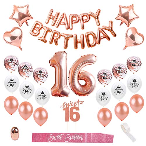 Sweet 16th Birthday Decorations Party Supplies - Birthday Balloons Number 16 Rose Gold, Confetti Latex Balloons,16 Cake Topper, Party Decorations Sweet Sixteen by QIFU (Rose Gold Balloons 16)