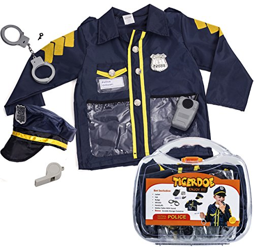 4 Man Group Costumes (Police Costume for Kids - Policeman Costume With Durable Case - Police Officer Costume Kids by Tigerdoe)