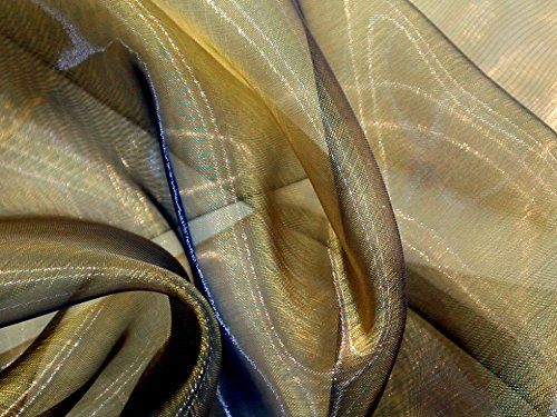 Two Tone Sheer Organza Dress Fabric Gold Black - per metre