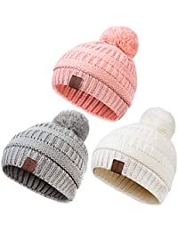 Baby Kids Winter Warm Fleece Lined Hats, Infant Toddler...