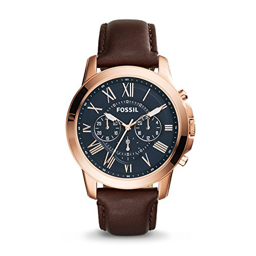 Fossil Men's Grant Quartz Stainless Steel and Leather Chronograph Watch Color: Rose Gold-Tone Brown (Model: ()