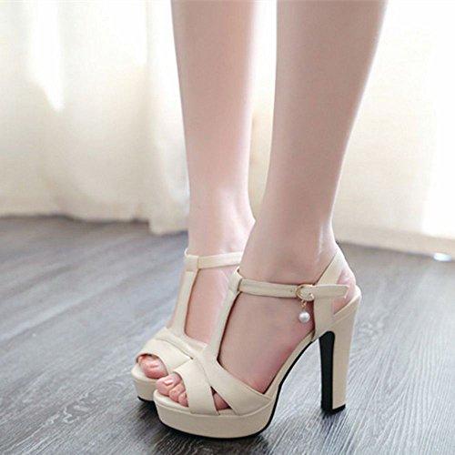 Plateforme Talon Coolcept Peep Beige Chaussures Sandales Femmes Hauts Toe IqwxgZ