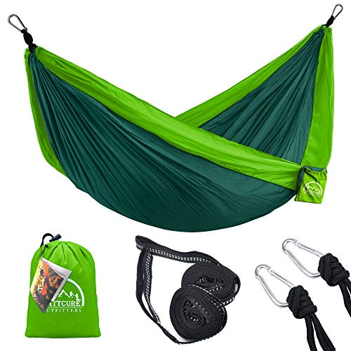 LATTCURE Outfitters Hammock Camping Double & Single with Tree Straps,Portable Parachute Nylon Hammock for Indoor Outdoor Backpacking Survival & Travel 107