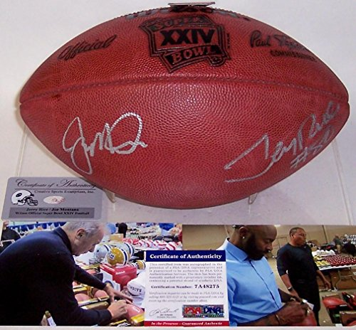 [Joe Montana & Jerry Rice Autographed Hand Signed Super Bowl 24 XXIV Official NFL Football - PSA/DNA Certified] (Joe Montana Official Football)