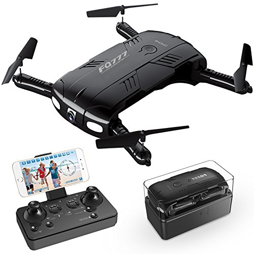 Drone with Camera Live Video, RC Quadcopter Pocket Drones with 2 Batteries, Easy to Use for Beginners,2.4G 6-Axis Headless Mode Altitude One Key Return 3D Flips and Rolls Toys