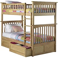 Columbia Bunk Bed with 2 Raised Panel Bed Drawers, Twin Over Twin, Natural