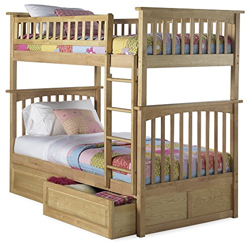 Atlantic Furniture Columbia Bunk Bed with 2 Raised Panel Bed Drawers, Twin Over Twin, Natural
