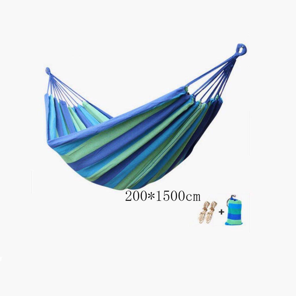 Hängematte Outdoor Hängematte Camping Camping Schaukel Hängematte Bergsteigen Hängematte blau Leinwand gestreifte Hängematte portable Hängematte (kommt mit Seil  2, Aufbewahrungsbeutel  1), (200  150cm)