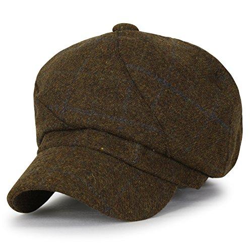 ililily Tattersall Checkered Wool-Blended Newsboy Hat Gatsby Ivy Golf Flat Cap, - Tattersall Wool
