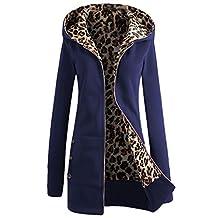 DOKER Women's Winter Thick Leopard Print Zip up Hoodie Coat