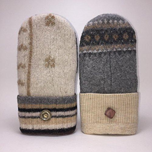 Baabaazuzu Beige & Gray Patterned Women's Upcycled Wool Sweater Mittens
