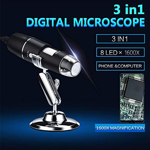 Microscopio USB Microscopio digital USB de alta potencia 1600x C/ámara de microscopio 3 en 1 PCB con 8 luces LED y soporte para microscopio para ni/ños Compatible con Windows Android y Mac