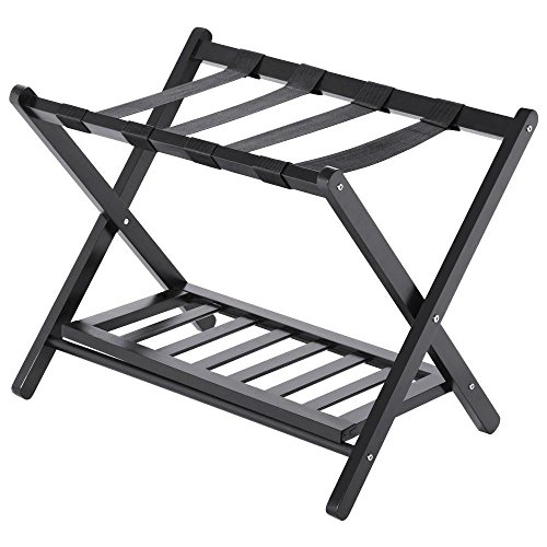 Wood Luggage Rack Folding Stand Shelf Suitcase Bag Storage Holder Travel Hotel by Unknown