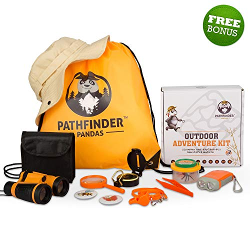 (Kids Explorer Kit | Outdoor Kids Camping Toys for Boys & Girls | Backyard SAFARI HAT Kids Binoculars, Flashlight, Bug Catcher Kit, Compass & More | Educational STEM Kids Gear for Young Explorers Toys)