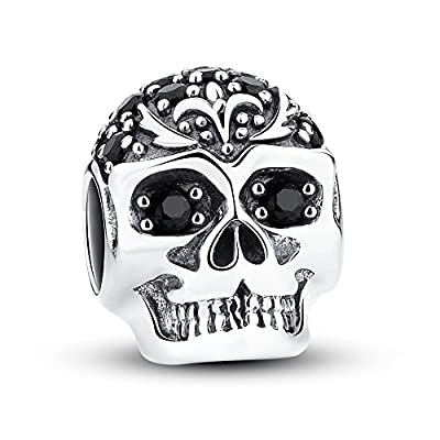 Glamulet Jewelry - Skull With Lily Charm -- 925 Sterling Silver by Glamulet