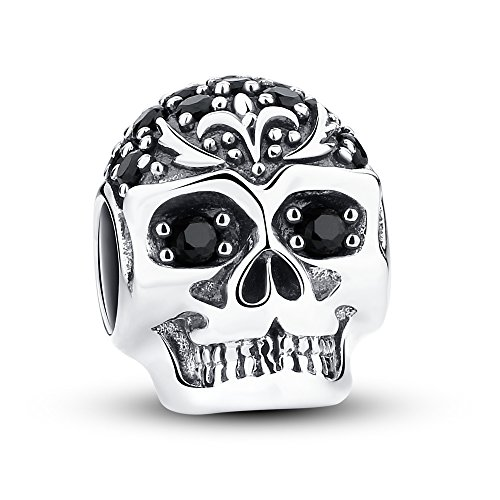 (Glamulet Skull With Lily Charm 925 Sterling Silver Animal Bead for DIY Charms Bracelet )