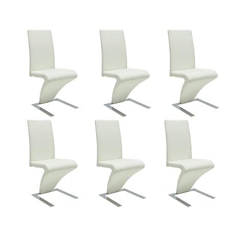 vidaXL Sedie Moderne Design Set da 6 sedie Pelle Bianca: Amazon.it ...