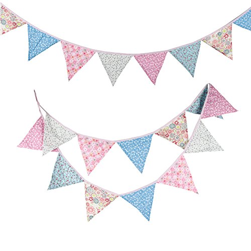 Fabric Banner Double Sided Bunting Banner Pennant Flag Garland Floral Spot Gingham for Wedding Birthday Party Baby Shower Home Decoration(2 Pack)