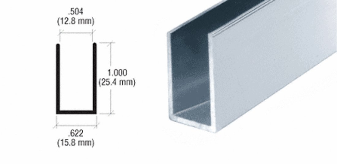CRL Satin Anodized 1/2'' Aluminum ''U'' Channel - 12 ft long