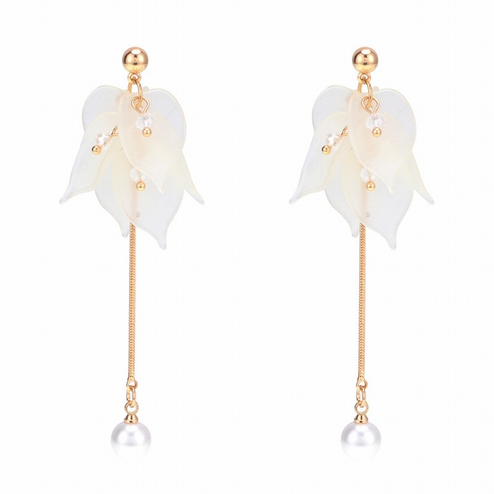 Simple Temperament Earrings Fashion All Match Matte Texture Petals long Earrings Aesthetic long Earrings , white