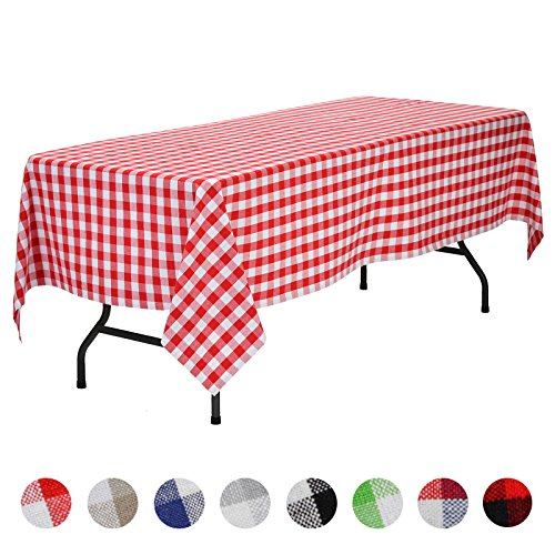 Picnic Plaid Tablecloth - VEEYOO Rectangular Plaid Check Tablecloth Gingham 100% Cotton for Home Kitchen Party Indoor or Outdoor Use 60 x 102 inch (Seats 8 to 10 People), Red & White
