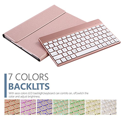 iPad-Case-with-KeyboardGenjia-Luxury-Leather-Folio-Flip-Magnet-Closure-Folding-Stand-Tablet-Protective-Cover-Detachable-Wireless-Bluetooth-Alloy-Keyboard-Backlight-for-2017-iPad-Pro-105-Rose-Gold