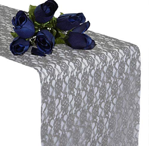 mds Pack of 10 Wedding 12 x 108 inch Lace Table Runner for Wedding Banquet Decor Table Lace Runner- Silver Gray