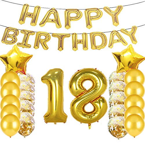 18th Birthday Photo - Sweet 18th Birthday Decorations Party Supplies,Gold Number 18 Balloons,18th Foil Mylar Balloons Latex Balloon Decoration,Great 18th Birthday Gifts for Girls,Women,Men,Photo Props