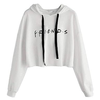 Longues Pull Manches Sweat Lettre Imprimée Shirt Femme À Friends wx68TFq76