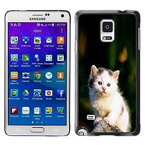 Stuss Case / Funda Carcasa protectora - Cute Sad White Furry Fuzzy Kitten Cat - Samsung Galaxy Note 4 SM-N910