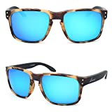 Bnus italy made corning Glass lens polarized Sunglasses For Men Women (Frame: Chaparral/Lens: Blue Flash, Polarized)