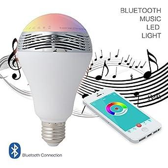 eDealMax altavoz Bluetooth inalámbrico inteligente luz E27 6W RGB LED Color de la ampolla de la ...