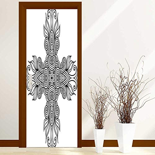 (Sticker for Front Door Royal Old Celtic Knot Pattern with Curled Lace Leaf Figures Renaissance Times Art Anti-UV, Easy Installation W38.5 x H77 inch)