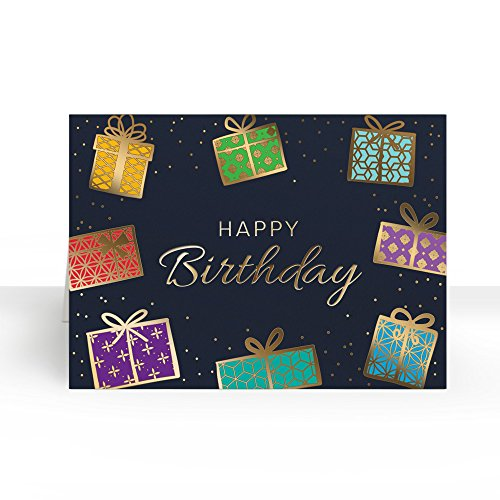 Pack of 25 Wall Street Greetings Premium Colorful Presensts 5x7 fold over Greeting card with 25 Ivory Peel & Seal gold foil lined envelopes (Ivory Foil Envelopes Gold)