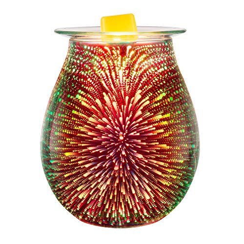 Electric Oil Warmer 3D Effect Fireworks Glass Wax Burner Incense Oil Warmer Night Light Aroma Decorative Lamp for Gifts & Decor for Home Office (Burners Scent Wax)