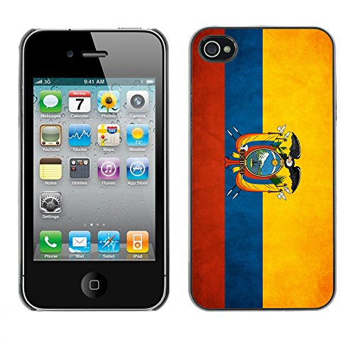 Omega Case PC Polycarbonate Cas Coque Drapeau - Apple iPhone 4 / 4S ( Ecuador Grunge Flag )