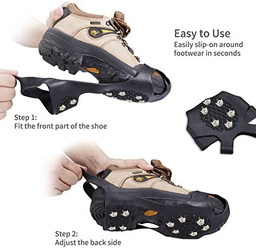 Ice Cleats Traction Ice Grips Crampons, FFFTTTN New Upgrade Anti Slip Snow Grips with 10 Teeth Stainless Steel Durable Silicone for Ice Walking, Ice Fishing, Snowing, Hiking, Climbing
