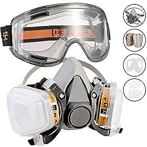 Faburo Respirateur Demi-Masque/Protection Masque à Double Couche de Protection/filtres montées/Masque Respiratoire…