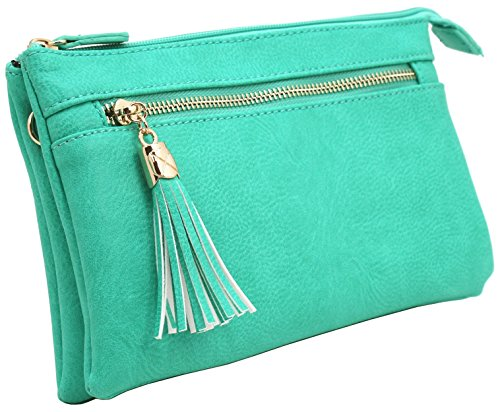 pockets tassels Turquoise crossbody Soft small bag multi faux with leather tqwx14R