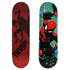 Go web go! This totally tubular children's starter skateboard is a great choice for any Spiderman fan looking to expand their skateboard experience! The Ultimate Spiderman 28-Inch Complete Skateboard from PlayWheels lets kids explore skateboa...