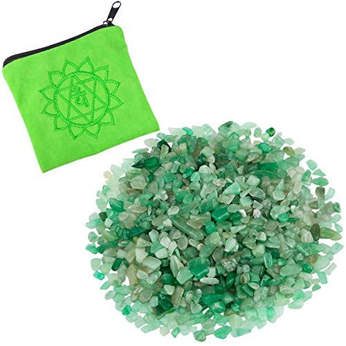 rockcloud 0.5 lb Small Tumbled Chips Crushed Stone with Chakra Bag Healing Reiki Crystal Home Decoration, Green Aventurine