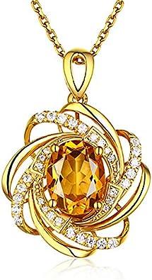 QKL Collar Clásico De Piedras Preciosas, Colgante De Citrino De 2 Quilates con Oro Amarillo De 18 Quilates, Elegante