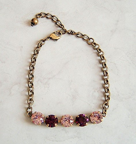 Cute Simulated Amethyst Crystal Link Bracelet Made With Swarovski February Birthstone Gift Idea AB ()