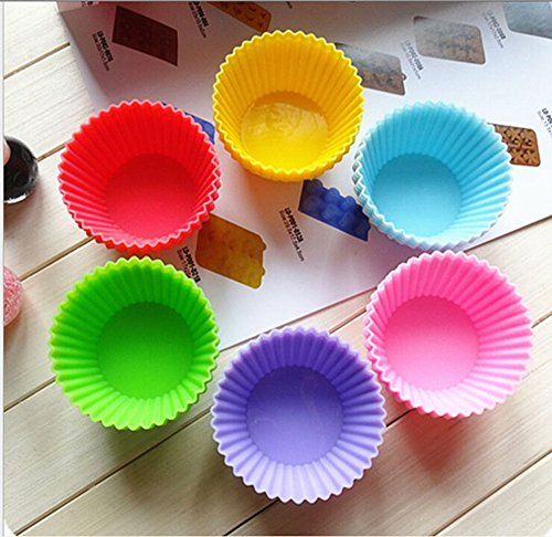 6 pcs/set Round Shape Muffin Cupcake Mold Colorful Silicone Muffin Cases Cake Cupcake Liner Baking Mold Baking Dishes Pan Form