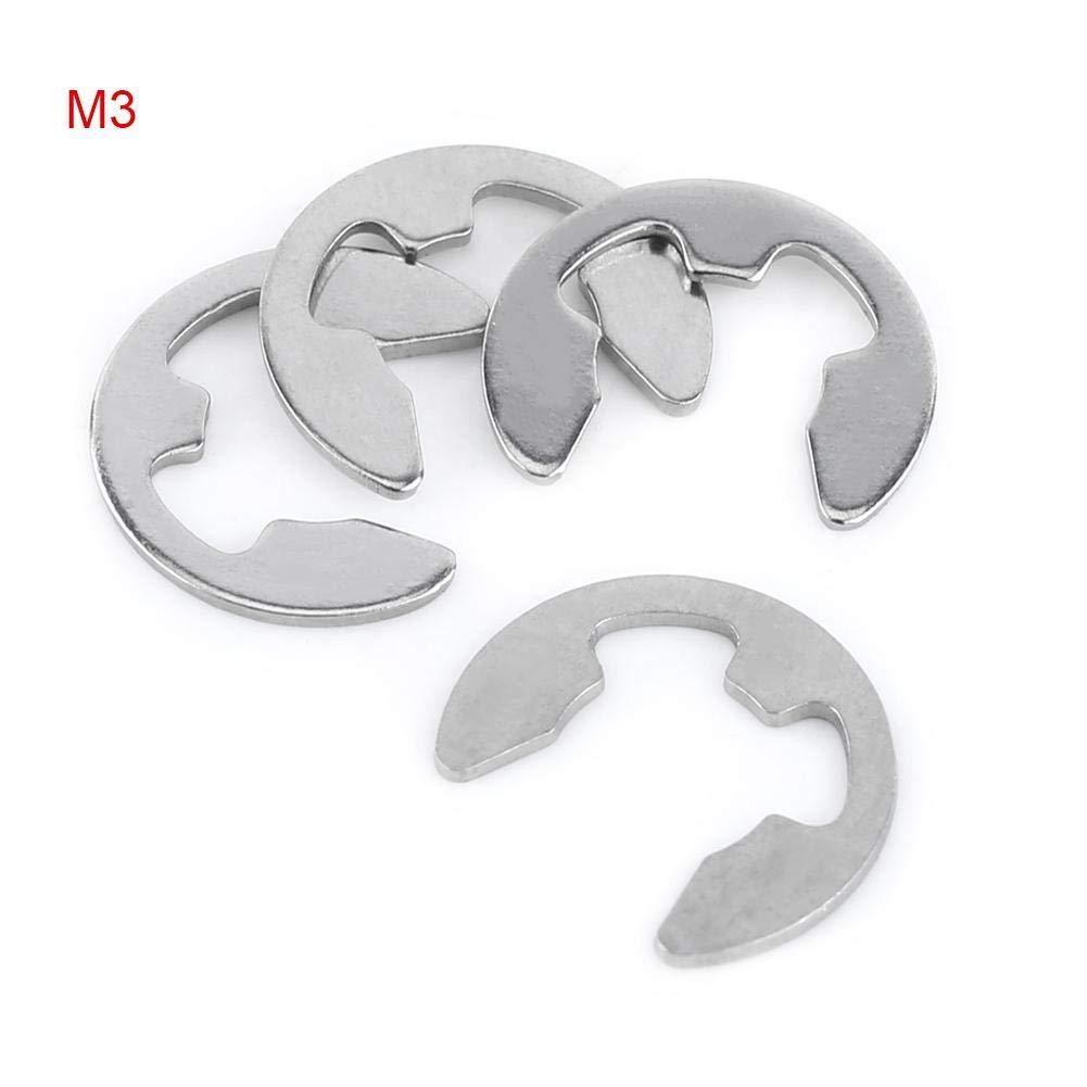 10 tailles, 1,5-10 mm c-clip M3 Circlip Anneau de Retenue 100pcs Pince E-clip en Acier Inoxydable kit dAssortiment de Bague dArr/êt