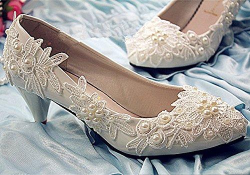 JINGXINSTORE Flach 4 cm cm cm 7.5cm Ferse weiß elfenbein Perlen Wohnungen lace Wedding schuhe Bridal Größe 6-10  3f9958