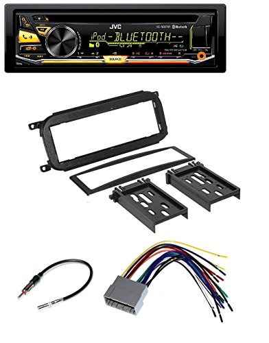 (Chrysler Jeep Dodge Car Audio Radio Installation Dash Kit + Harness + Antenna and JVC KD-RD97BT CD/MP3/WMA Player W/Bluetooth iHeart Radio Pandora Front USB AUX)